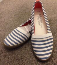 George Beach Style Loafer Summer Shoes Size 6 BNWT Blue White Striped