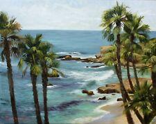 Laguna Beach Palm Trees California Seascape Original Oil 16x20