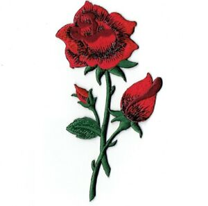 """Red Roses Applique Patch - Long Stem and Flowers 4.75"""" (Iron on)"""