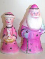 Russian Pink Winter King Queen Christmas Tree Topper Figurine Vintage Styrofoam