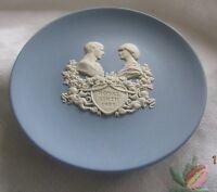 "Blue Wedgwood Jasper Ware Cicular Pin Dish 4"" Royal Birth 1982"