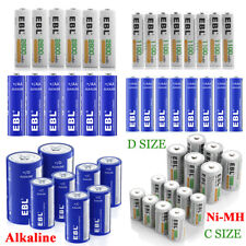 Lot EBL Rechargeable NI-MH C D Size Cell / Non-Rechargeable Alkaline Batteries