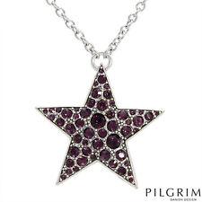 New PILGRIM SKANDERBORG Purple Star Necklace in Silver base metal