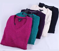 NWT TOMMY HILFIGER WOMEN'S SOLID CABLEKNIT V-NECK SWEATER
