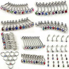 100pcs 316L Stainless Steel Crystal body jewelry belly tongue lip piercing Rings