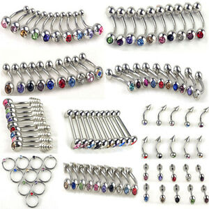 100Pcs Stainless Steel Crystal Body Jewelry Belly Tongue Lip Piercing Rings Bars