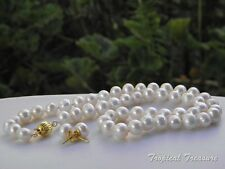- 18k Gold Plate clasp #201 8-9mm White Cultured Akoya Pearl Set