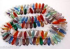 50 3x11mm Czech Glass Dagger Beads: Twilight Mix