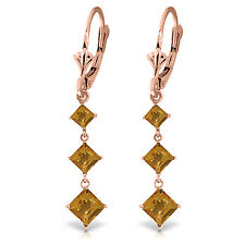 4.79 CTW 14K Solid Rose Gold Citrine Sunny Drop Earrings