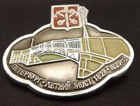 Collectible Vintage Two Anchors Crossing And Bridge Russian Enamel Hat Pin