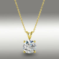 1.5 Ct Round Brilliant Cut Solitaire Pendant 16+2 Solid 14k Yellow Gold Necklace