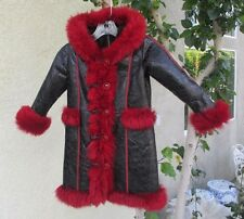 GORGEOUS JUNIOR OR CHILD SIZE FRENCH LAMB COAT / JACKET WITH HOOD - MUST SEE!