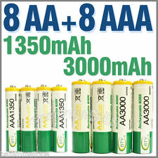 8 Piles rechargeables AAA 1350 mAh + 8 Piles rechargeables AA 3000 mAh - BTY