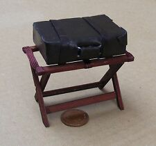 1:12 Scale Opening Wooden Luggage Stand With A Suitcase Dolls House Accessory