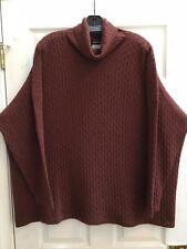 Eskandar O/S 1x 2x Rust Cabled 100%  Cashmere Oversized Turtleneck Sweater $1690