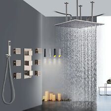 Thermostatic 20 inch Shower Faucet Set Massage Body Jets Sprayer Brushed Nickel