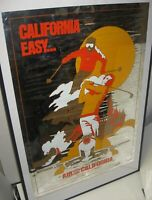 Damaged RARE Air California Vintage MYLAR Travel Poster Ski Disney Airline Prop