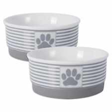 Design Imports Dii Pet Bowl Paw Patch Stripe Gray Small 4.25dx2h (Set of 2)