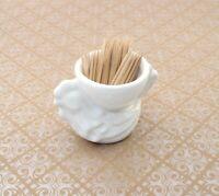 "Vintage White Rooster Toothpick Holder ~ 2"" Tall ~ Porcelain"