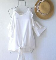 New~White Ruffle Peasant Blouse Shirt Linen Cotton Tie Boho Top~Size Medium M