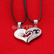 "His and Her Stainless Steel""I Love You""Heart Men Women Pendant Necklace _UK"