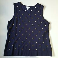 Charter Club Women's XL Polka Dot Scoop Nk Sleeveless Black Gold Embroidered Dot