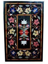 4'x2' Black Marble Dining Table Top Inlay Mosaic Merry X-mas Decoration Art H506