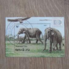 TIMBRES ANIMAUX : BLOC ELEPHANTS : BLOC OBLITERE DU LAO 1987 / ELEPHANTS STAMPS