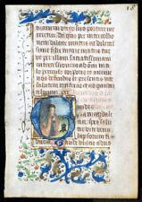 MARY MAGDALENE MEDIEVAL ILLUMINATED  MANUSCRIPT  BOOK OF HOURS LEAF  c.1450
