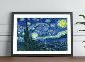 Van Gogh Starry Night FRAMED ART POSTER PAINTING PRINT 4 SIZES BLACK OAK  WALNUT