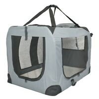 Soft PET CARRIER Folding Dog Cat Animal Travel Cage Bag Portable Grey Crate Box