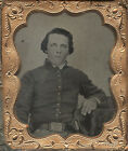 Armed 1/6 Plate Tintype of Union Soldier in a Full Thermoplastic Case for sale