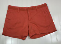 Athleta Fo Show Chino Athletic Shorts Womens Size 2 Coral Sunset Pockets Stretch