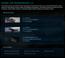 STAR CITIZEN - UEE EXPLORATION PACK - LTI (Carrack, Terrapin & Dragonfly) + SQ42