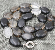 "13x18mm natural Black tourmaline Flat Oval Gemstone Beads Necklace 18 ""##HK2029"