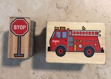 Set Of 2 Transportation Mounted Rubber Stamps  Fire Truck & Stop Sign Pre-owned