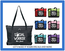 SOCIAL WORKER PERSONALIZED MONOGRAM NAME PURSE TOTE SPORTS GYM WORK SCHOOL BAG