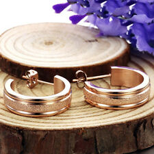 Dull Polish Goldsmith Rose/Yellow Gold GP Surgical Stainless Steel Hoop Earrings