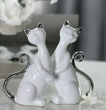 46125 Figur Katze Milly Keramik weiß glasiert mit silbernem Schwanz und Ohren