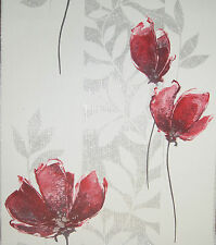 Vlies Tapete P+S 13272-10 Florales Design Blumen Struktur Weiß Rot Silber