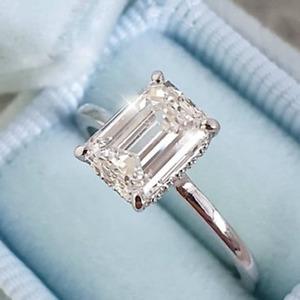 2.19 TCW Emerald DVVS1 Forever Moissanite Engagement Ring 14k White Gold Plated