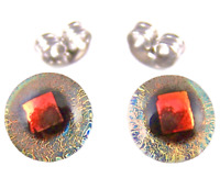 "Tiny DICHROIC GLASS Post EARRINGS 1/4"" 9mm Clear COPPER ORANGE Gold Fused STUDS"