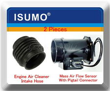 2 Pc Mass Air Flow Meter W/ Connector & Intake Hose Fits I30 96-01 Maxima 95-99