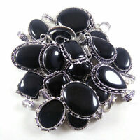 Black Onyx Wholesale Lot Silver Plated 10Pcs Pendant Gemstone Jewelry