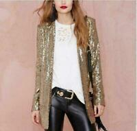 Womens Silver Gold Suit Blazer Sequin Coat Sleeve Bling Shinny Punk Jacket  Hot