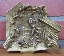 Old Bronze RAT BOWLING BALL PINS CHUTE MAN Figural Embossed Decorative Arts Tray