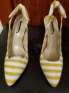 Yellow and White Striped Sling Back High Heeled J Renee' Size 8.5 Shoe
