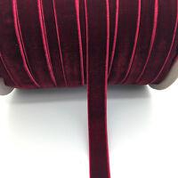 "5yds 5/8 ""16mm Vintage Deep Red Velvet Ribbon Headband Clips Bow Wedding Craft"