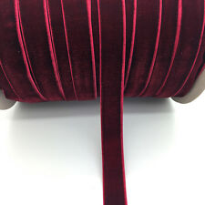 "5yds 5/8 ""16mm Vintage Deep Red Velvet Ribbon Headband Clips Bow Wedding Craft"