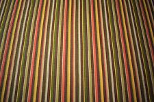 """Striped Brown Green 100% Flax Linen Fabric 55""""W Upholstery BTY Natural Fiber"""